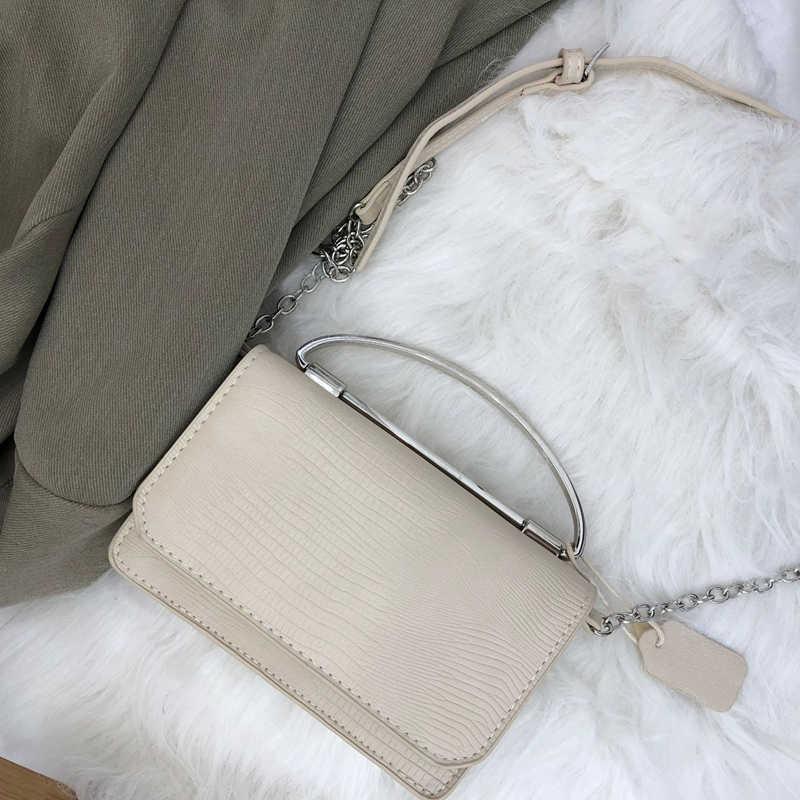 Youda 2018 nuevo patrón de cocodrilo Vintage cadena decoración bolso de hombro Flip Color sólido Simple oblicuo pequeño cuadrado bolsas