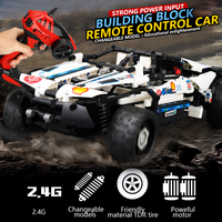 4 In 1 DIY Building Block High Speed RC Cars 4 Channel Technic Bricks Radio Controlled Assemble Kit Electric Car