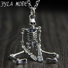 Classic Skeleton Skull Style S925 Sterling Silver Antique Silver Necklaces Pendants Without Chain For Men 17.3*70.3MM PBG079