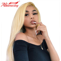 Ali Amazing Hair Peruvian Straight Pure 613 Blonde Lace Front Wigs With Baby Hair 250% Density Remy Human Hair Bleached Knots