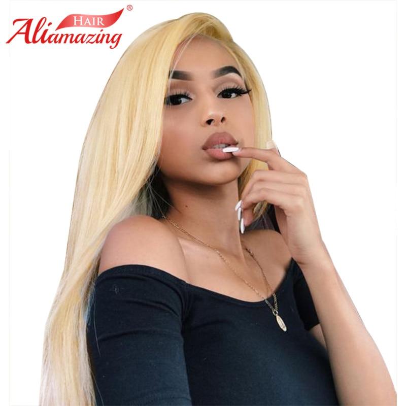 Ali Erstaunliche Haar Peruanische Gerade Reine 613 Blonde Lace Front Perücken Mit Baby Haar 250% Dichte Remy Menschenhaar Gebleichte Knoten Festsetzung Der Preise Nach ProduktqualitäT