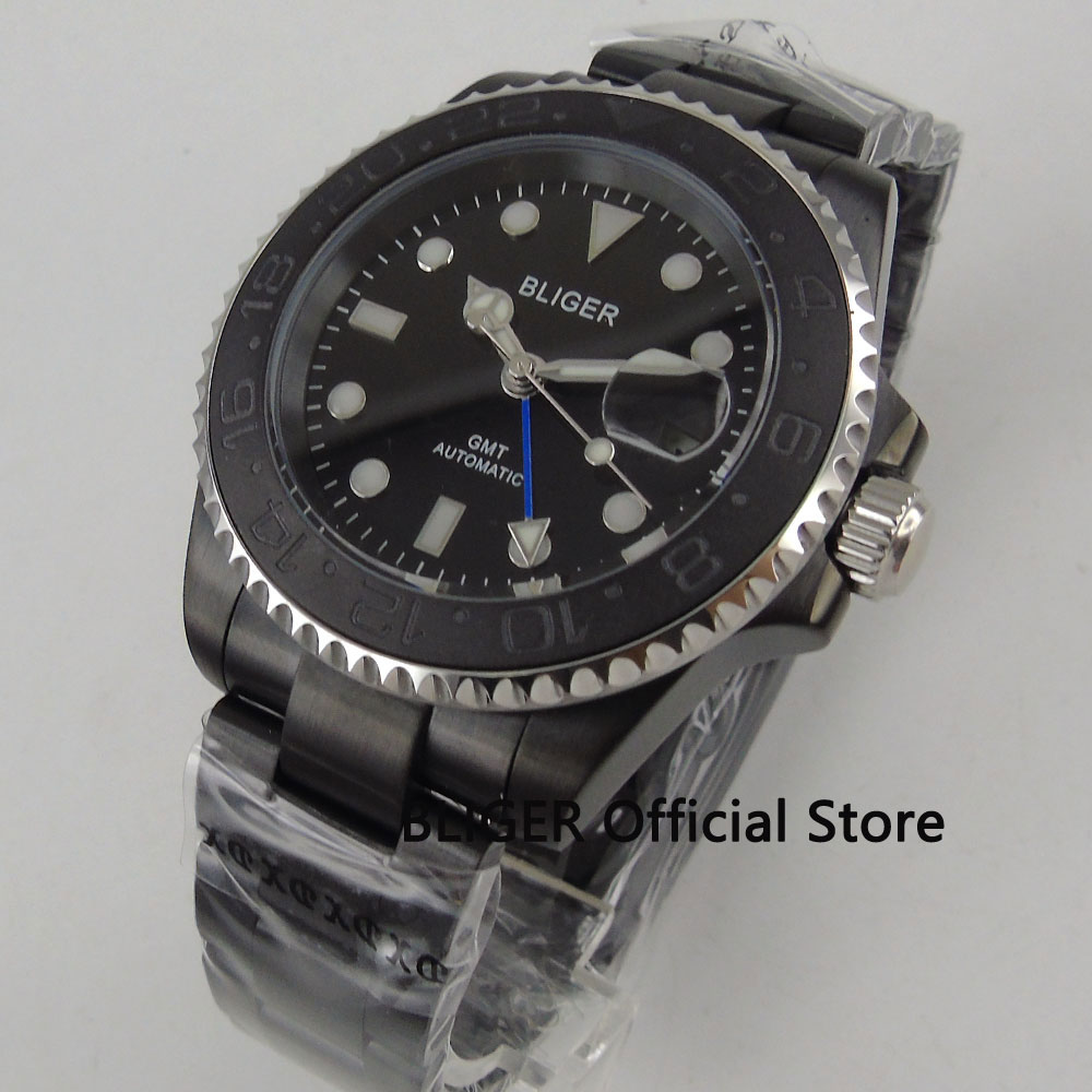 Sapphire Glass BLIGER 43MM Black Dial Black Ceramic Bezel Solid PVD Coated Case GMT Function Automatic Movement Men's Watch B201 цена и фото