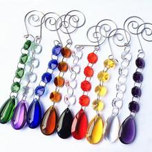 Najwyższa jakość 10 sztuk partia mieszane kolory K9 kryształowe koraliki łańcuchy W 38mm piękne szklane krople wody na choinkę wiszące dekoracji tanie tanio CN (pochodzenie) 22mm 150mm Kryształowy żyrandol M-117 mixcolors Crystal chandelier parts k9 crystal 10pcs