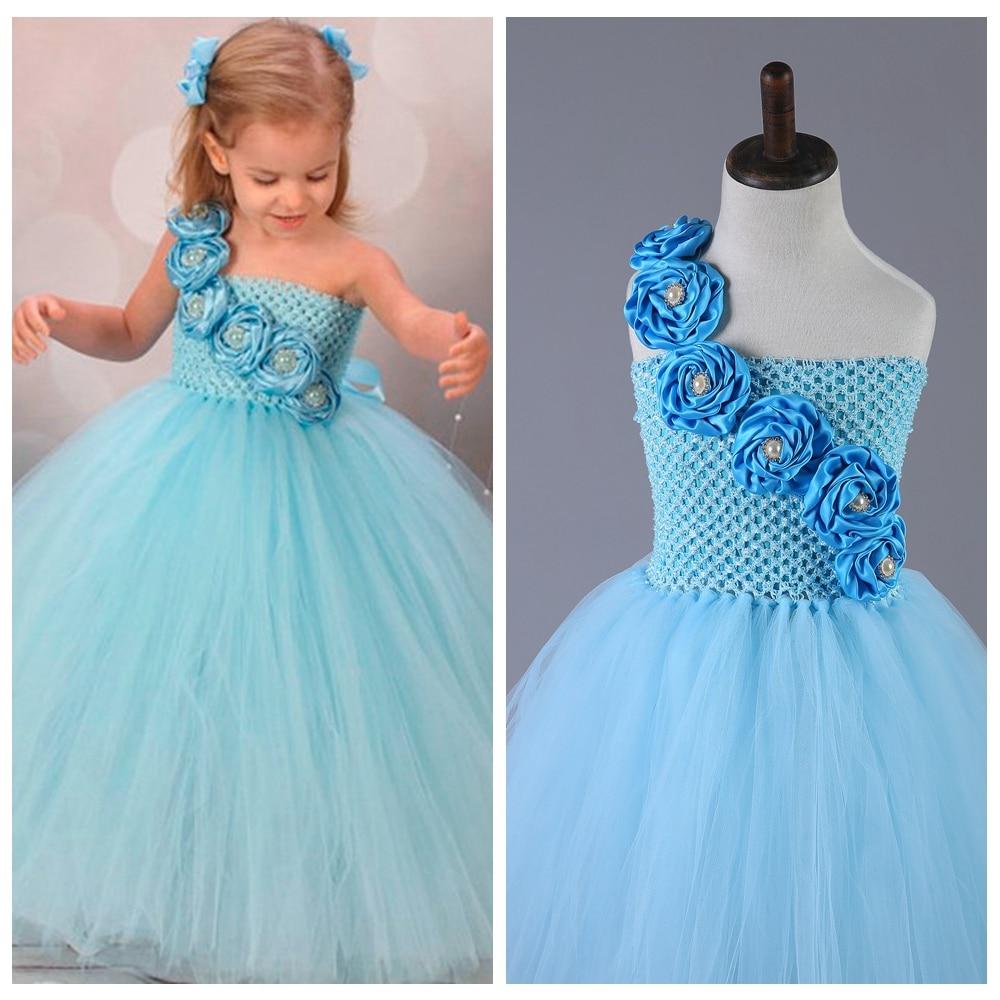 Sweet Pure Fresh Blue One Shoulder Flower Girl Dress Ball Gown ...