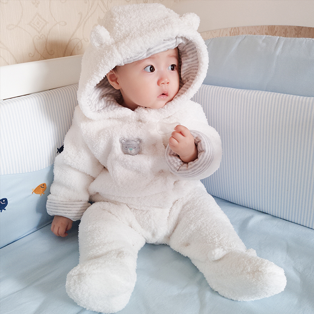 58829d150b4fe Cute Bear Baby Clothes Infant Baby Girl Boy Rompers Hooded Plush Jumpsuit  Winter Overalls for Kids