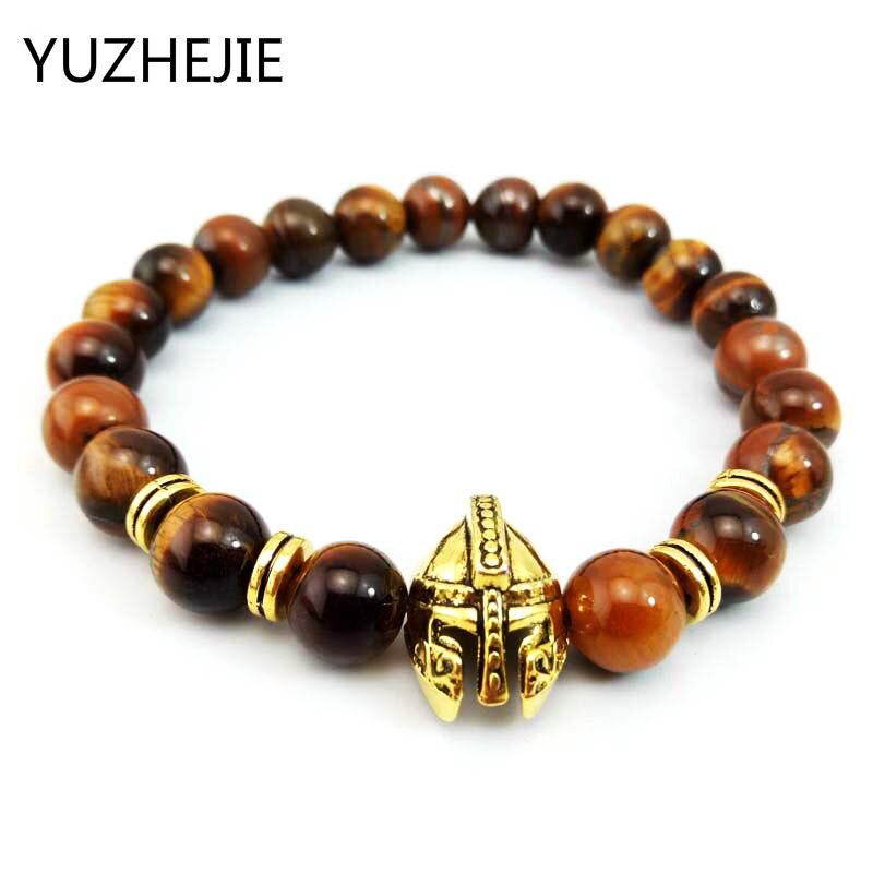 YUZHEJIE Owl Leopard Lion Head Bracelet Spartan Warrior Gladiator Helmet men Bracelet tiger eye Beads Bracelet for men