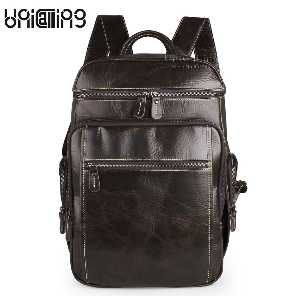 Men backpack leather UniCalling luxury men backpack fashion genuine leather men brand backpack real cow leather male backpack playeagle men