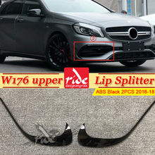 For Mercedes W176 A Class Sport A45 Style Front Bumper Lip Trim Splitter Canard Fin 2-Pcs ABS Gloss Black A180 A200 A250 16+
