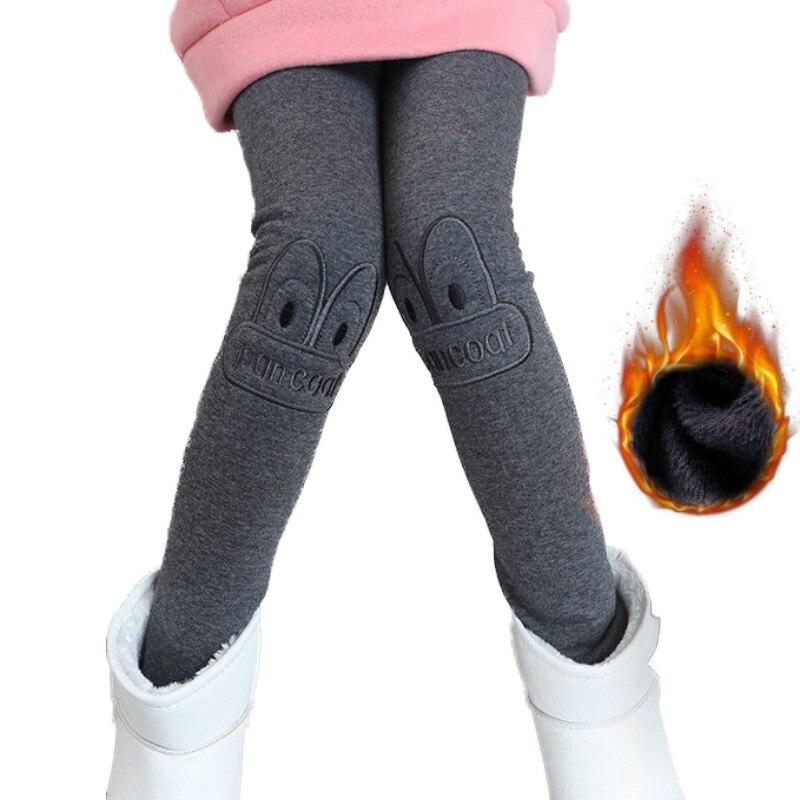 3-7T Girls Leggings Keep Warm Winter 2018 Kids Girls Clothes Cute Embroidery Legging Velvet Leggings for Girls rabbit embroidery striped leggings