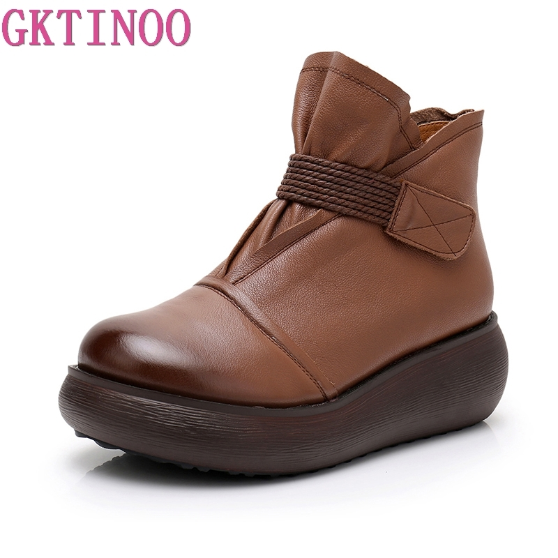GKTINOO Platform Boots Women Genuine Leather Ankle Boots for Women Soft Wedges Martin Shoes Ladies Casual Boots Shoes Women