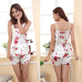 2016 Hot Fashion Womens Sexy Pajamas Set Blouse Shirt + Shorts Underwear Sleepwear 2 Pcs ZT1