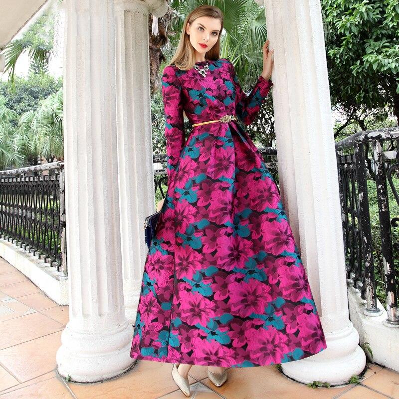 Bonne qualité 2018 femmes élégantes à manches longues longue Maxi robe Boho mode Floral Jacquard robe Vintage chaud automne hiver robe
