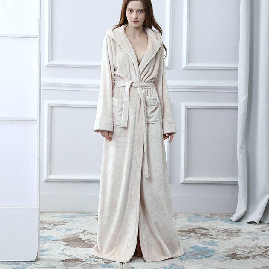 Winter Extra Long Warm Thick Hooded Bathrobe Women Men Sexy Long Sleeve Ankle Bath Robe