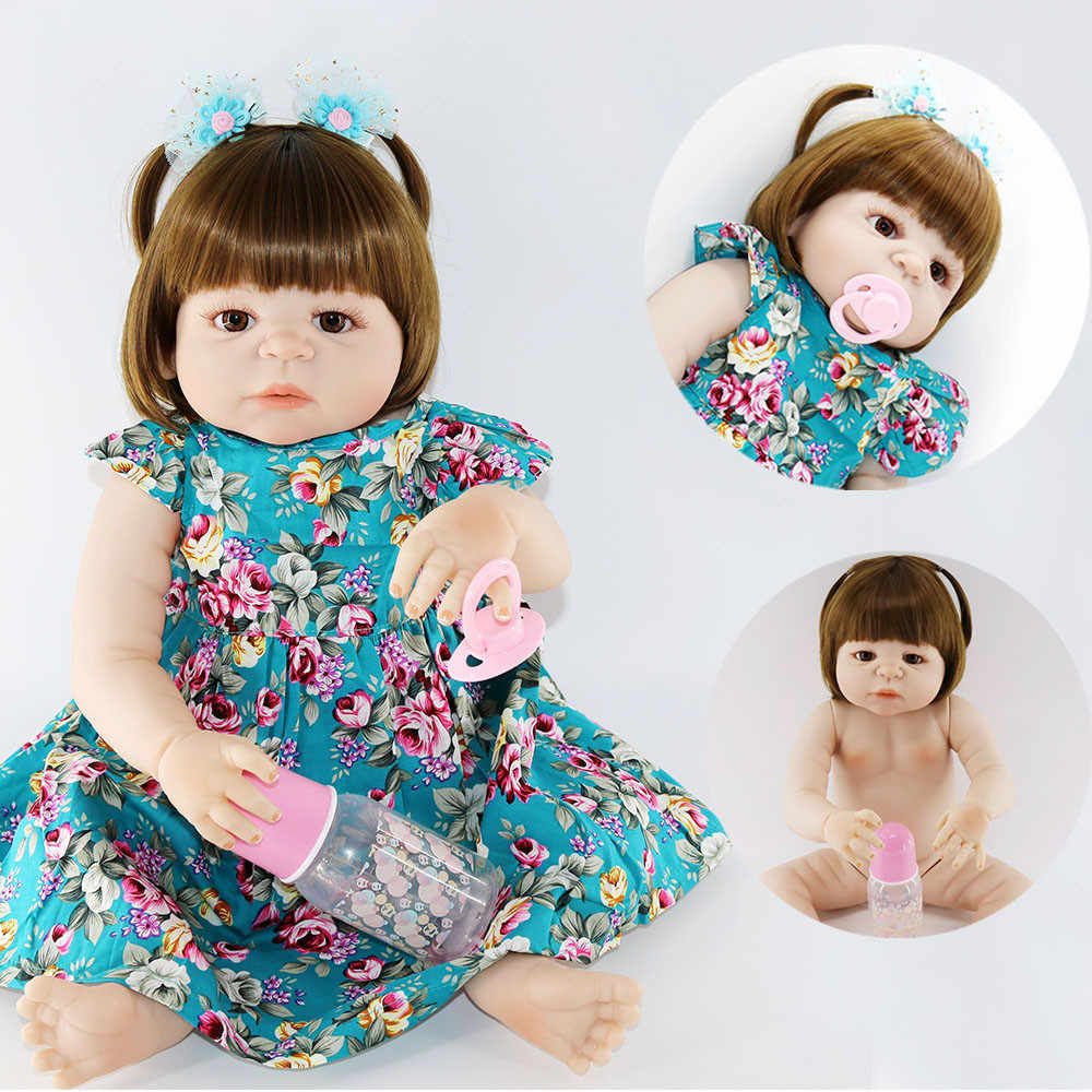 55cm de Corpo Inteiro de Silicone Renascer Baby Girl Boneca Brinquedos Realistic 22 polegada Princesa Recém-nascidos Bebês Criança Dom Boneca Bebes renascido
