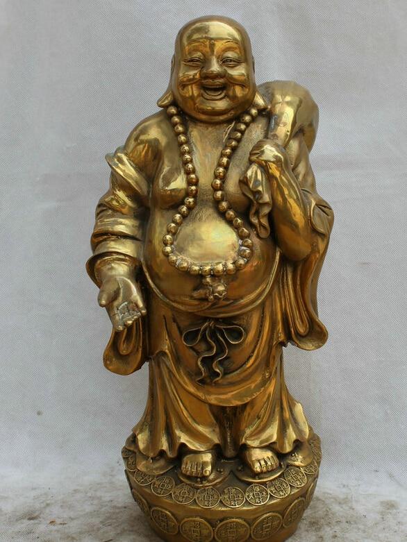"Collectible bronze S1935 18"" Chinese Brass stand Wealth moneybag Happy Laugh Maitreya Buddha Statue (B0328)|statues buddha|statue bronze|statues collectibles - title="
