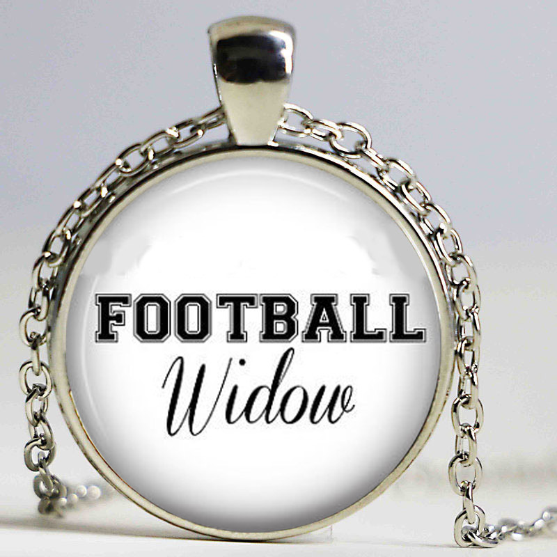 Vintage simple Steampunk movie Football Widow sport fans long chain Necklace 1pcslot bronze silver Glass Pendant jewelry image