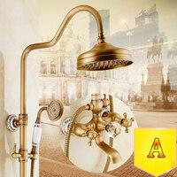Смесители для душа душевая кабина антикварной краны верхний спрей дождь Насадки для душа Европейский Стиль настенный Ванная комната Ванна