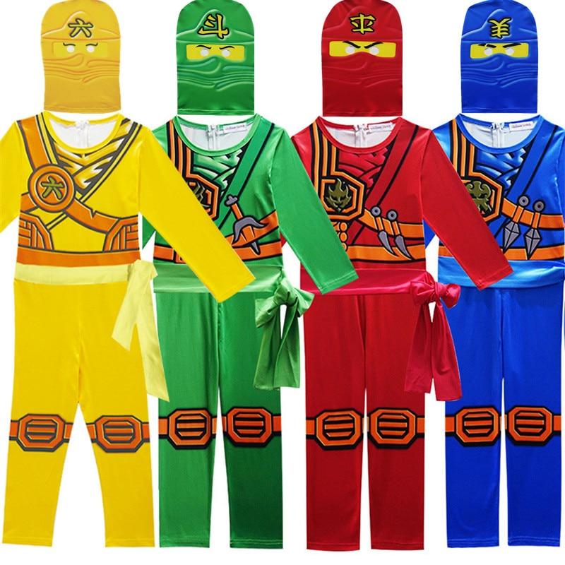 Legoo Ninjago Cosplay Costumes Boys Jumpsuits Sets 3PCS/SET Party Clothes Ninja Superhero Streetwear Suits