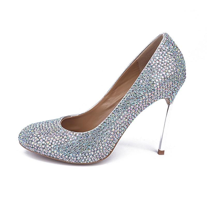 Mode Fermé 2018 De Soirée La Cristal Cuir Taille Partie Mousseux Plus Bal Femmes 10cm Heels Véritable Ab Couleur En Color Orteils Chaussures Mariée twqfqI0rTx