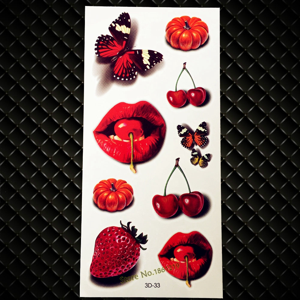New Vivid 3D Tattoo Red Lip Cherry Strawberry Pumpkin Design Flash Temporary Tattoo Sticker Men Women Body Art Fake Tattoo G3D33