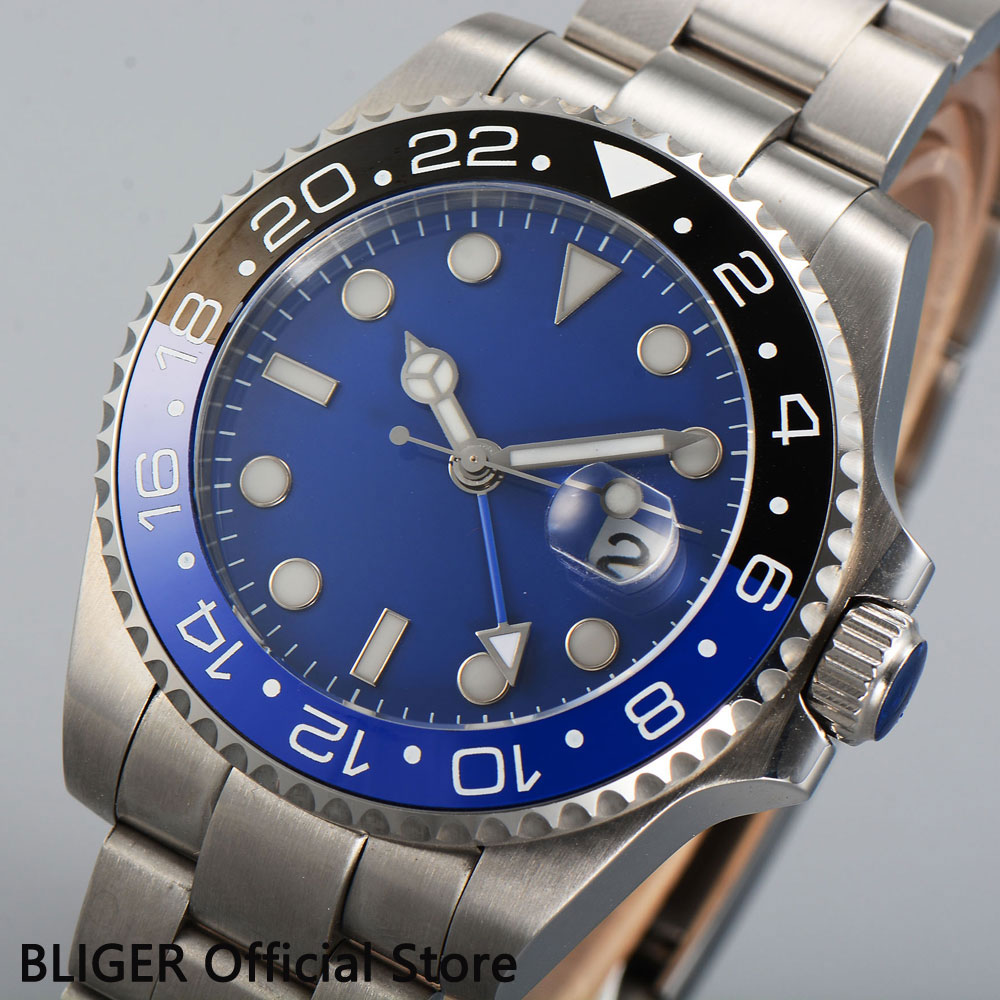 Solid 40MM BLIGER Blue Sterile Dial Black Blue Ceramic Bezel Luminous Marks GMT Function Automatic Movement Mens Watch B351Solid 40MM BLIGER Blue Sterile Dial Black Blue Ceramic Bezel Luminous Marks GMT Function Automatic Movement Mens Watch B351