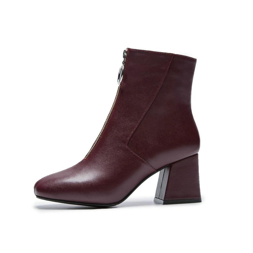 Zapatos Occidental Cuadrados Tobillo Punta Otoño Mujer negro Cuadrada Botas Zipper 2019 rojo 40 Tamaño Estilo 34 Nikove Tacones Beige 1xwCW5qnH