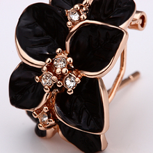 USTAR Lovely Black Flower  Rose Gold color Austrian Crystals Stud Earrings for women Fashion Jewelry top quality