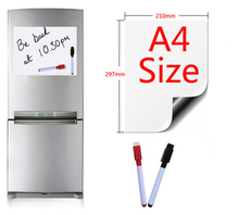 Magnetic Whiteboard A4 Size 210mmx297mm Fridge Magnets Presentation Boards Home Kitchen Message Writing Sticker 2 Pen