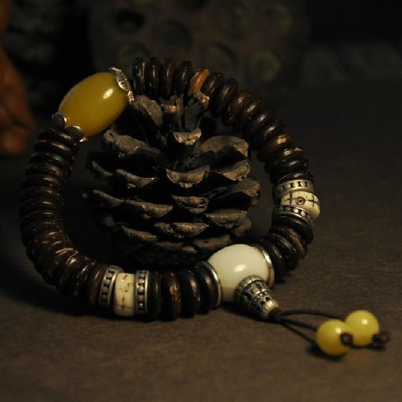 Ручной работы тибетский бусины браслет буддийский мала браслет тибетский запястье скорлупы кокосового ореха Deginer ювелирные изделия подарок
