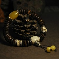 Perles Bracelet tibétain main Bracelet Mala bouddhiste tibétain Bracelet Mala de noix de coco Deginer bijoux cadeau