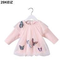 29KEIZ 2018 Spring Girl Dress Embroidered Butterflies Mesh Dress For Girl 1 Year Pink Baby Girls