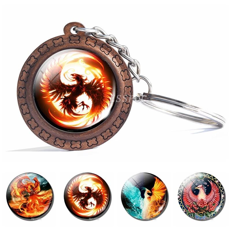 Ice And Fire Phoenix Keychain Fashion Phoenix Photo Glass Cabochon Wooden Keyring Bag Pendant Keys Holder Handmade Gift
