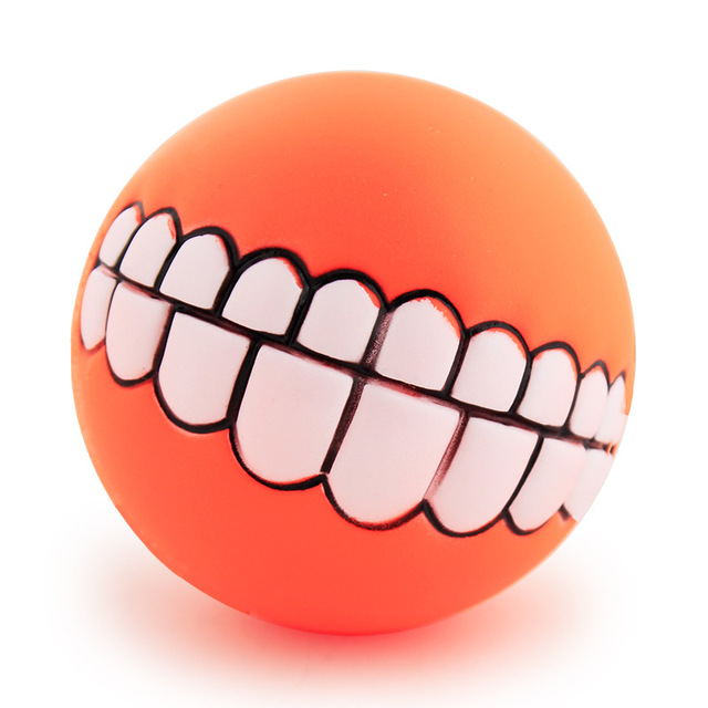 Funny Pets Dog Puppy Cat Ball Teeth Toy PVC Chew Sound Dogs Play Fetching Squeak Toys Pet Supplies 3