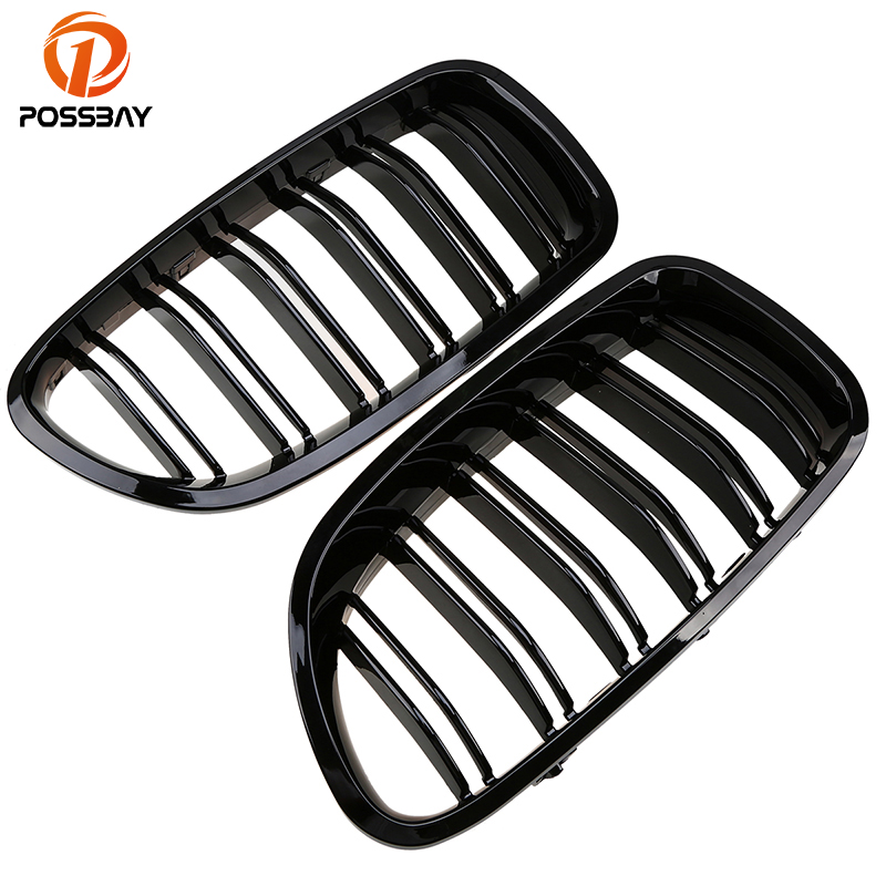 POSSBAY Shiny Gloss Black Front Grille for BMW F10 F11 5 Series 2010/2011-2016 Racing Grill Car Auto Accessories Double LinesPOSSBAY Shiny Gloss Black Front Grille for BMW F10 F11 5 Series 2010/2011-2016 Racing Grill Car Auto Accessories Double Lines