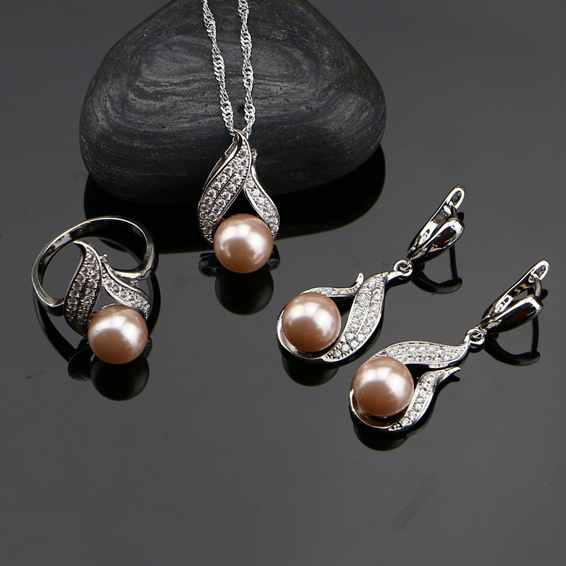 925 Silver Jewelry Sets Pink Freshwater Pearls With White Beads Women Wedding Earrings/Pendant/Ring/Necklace Set