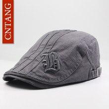 ce91fd353cd29 CNTANG 2018 Summer Fashion Men Berets Flat Hat Embroidery Cotton Visor Caps  Vintage Flat Casual Beret