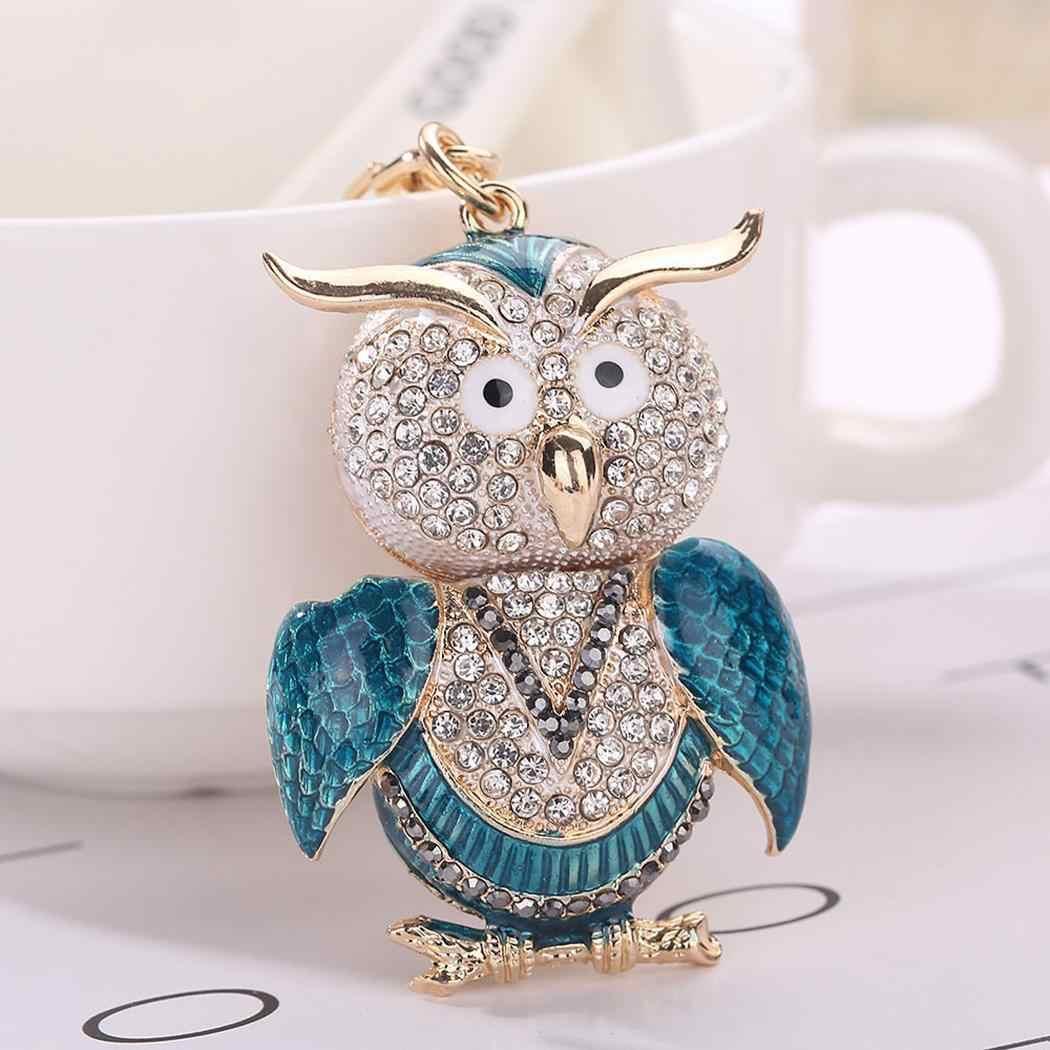 Cristal bonito Forma Animal Pingente 30mm 3.0 centímetros/1.2 polegada Coruja Chaveiro Saco Chave Snap Corrente com Gancho decoração