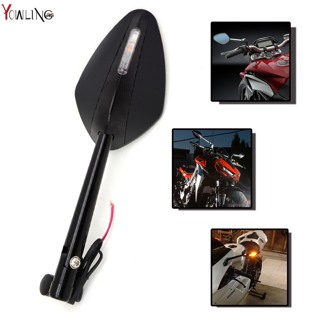 new Universal CNAluminum motorcycle Scooter Rearview Mirrors For Kawasaki ZX6R ZX7R ZX10R ZX14R NINJA650R Z800 Z1000 MT09 MT07 universal 10mm chrome motorcycle scooter rearview mirrors for kawasaki honda suzuki cruiser choppers street bike scooter offroad