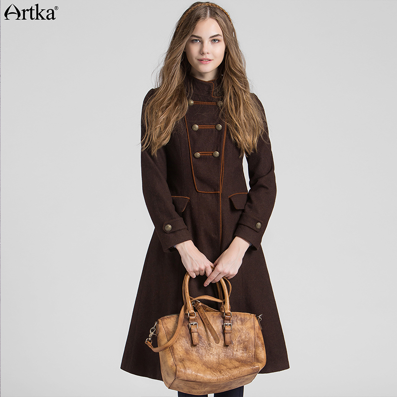 ARTKA Wool Coat Women s Winter Jackets 2018 Double Breasted Ladies Overcoat Autumn Women s Jacket