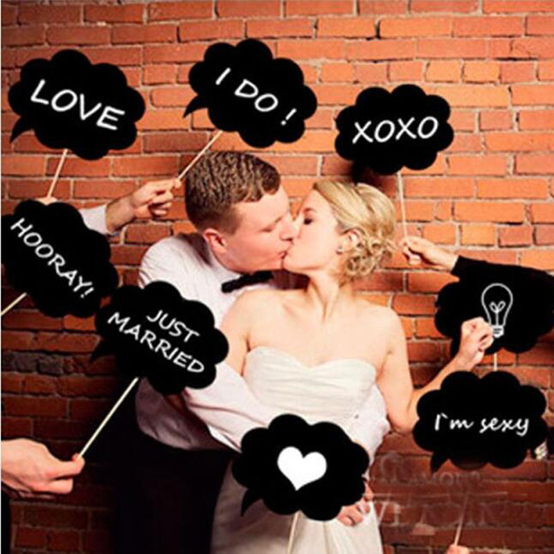 Bruiloft Decoratie Krijtbord Photo Prop Props decor 10 stks / Set photo booth Black Card Board Krijtbord Stok Accessoires