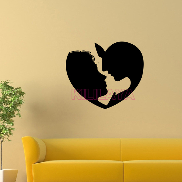 vinyl walls sticker couple in love heart wall stickers for living