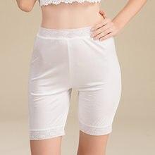 100% de seda real das mulheres do verão rendas superior calças de segurança dupla face tricô anti exposto seda segurança cinco calças bsy1031