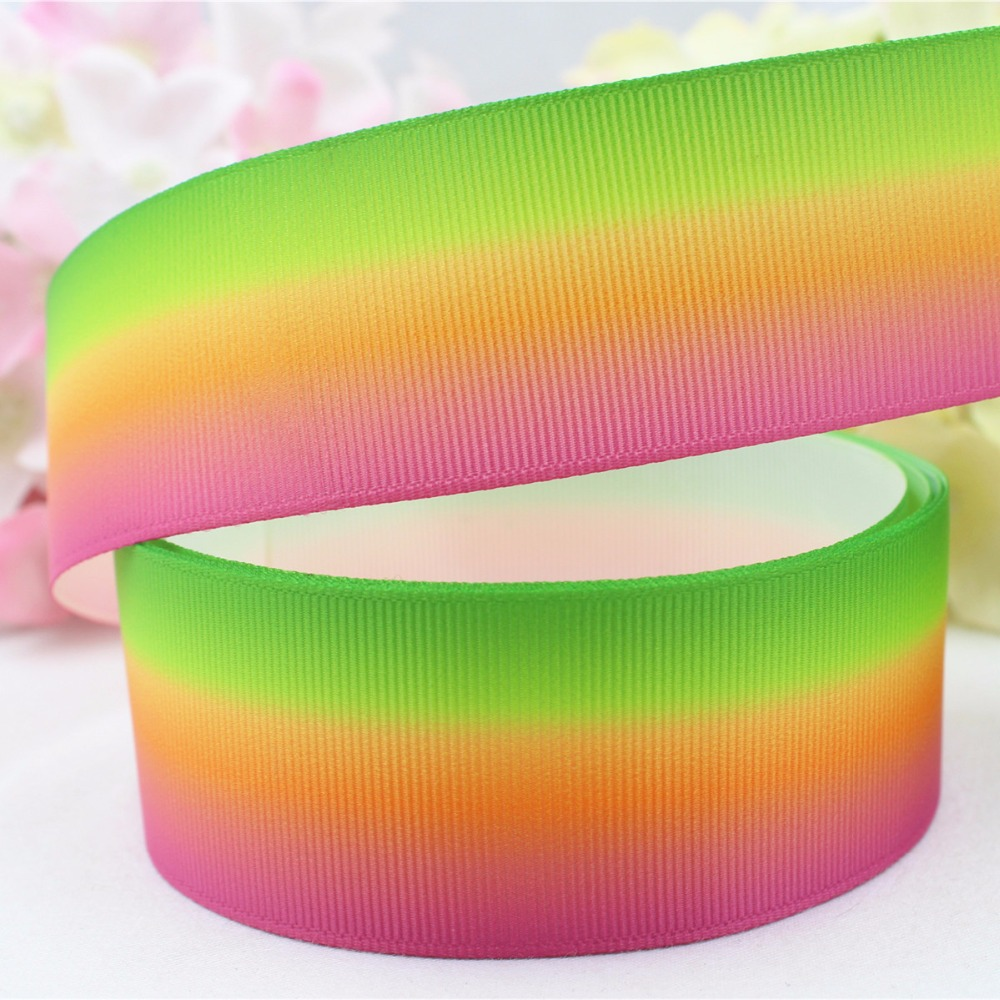 Grosgrain ribbon 22mm wide 4 meter rainbow trees and house print