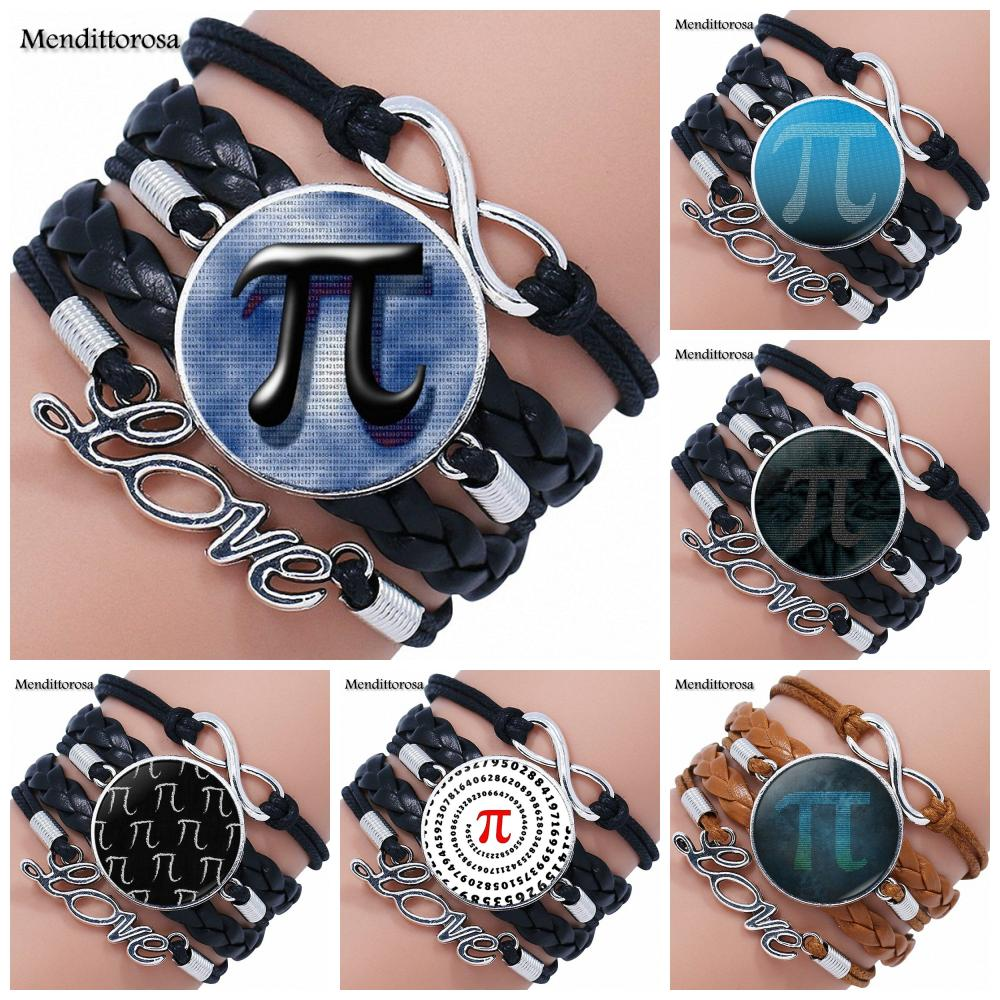 Mendittorosa Pi Maths For Women New Brand Jewelry With Glass Cabochon Multilayer Black/Brown Leather Bracelet Bangle