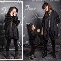 Coincidentes madre hija ropa outwear otoño y la primavera de manga larga paillette zanja medio-grande chaqueta de la ropa de la familia