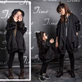 matching mother daughter clothes outwear autumn and spring long-sleeve paillette trench medium-large  jacket family clothing