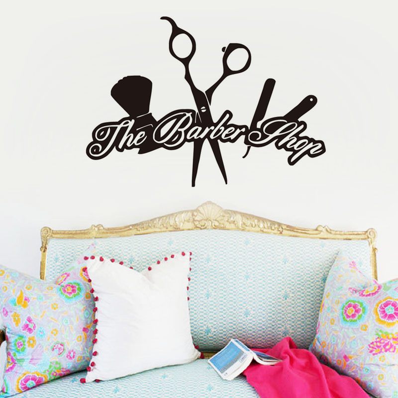 Beautiful The Barber Shop Logo Wall Sticker Removable Vinyl Art Decals Hair Make Up Wall ...