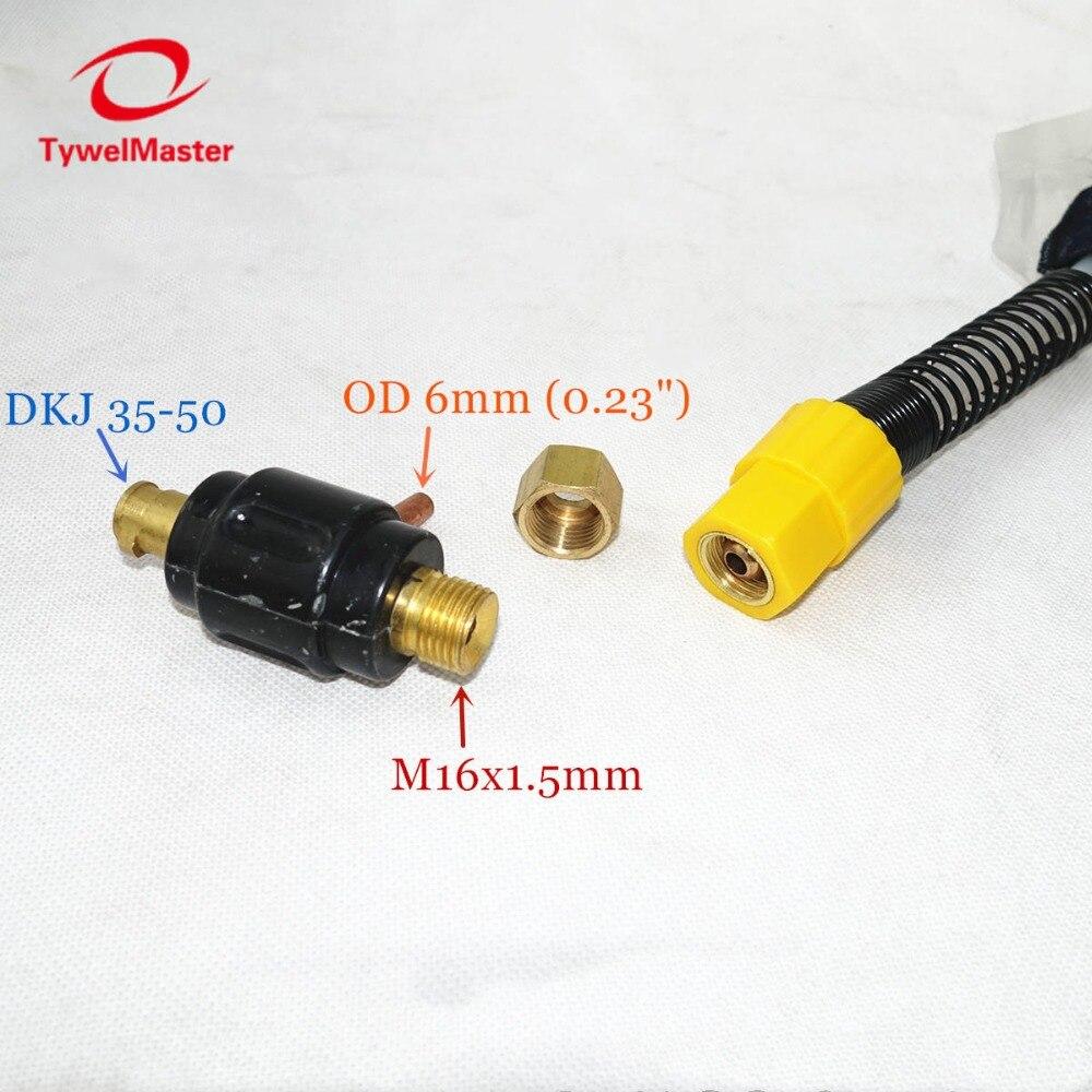 4 Meters Conectores de cable DKJ35-50 refrigerados por agua con cabezal de antorcha de soldadura por arco Tig Agon WP18 con 4 metros//8 metros de cable