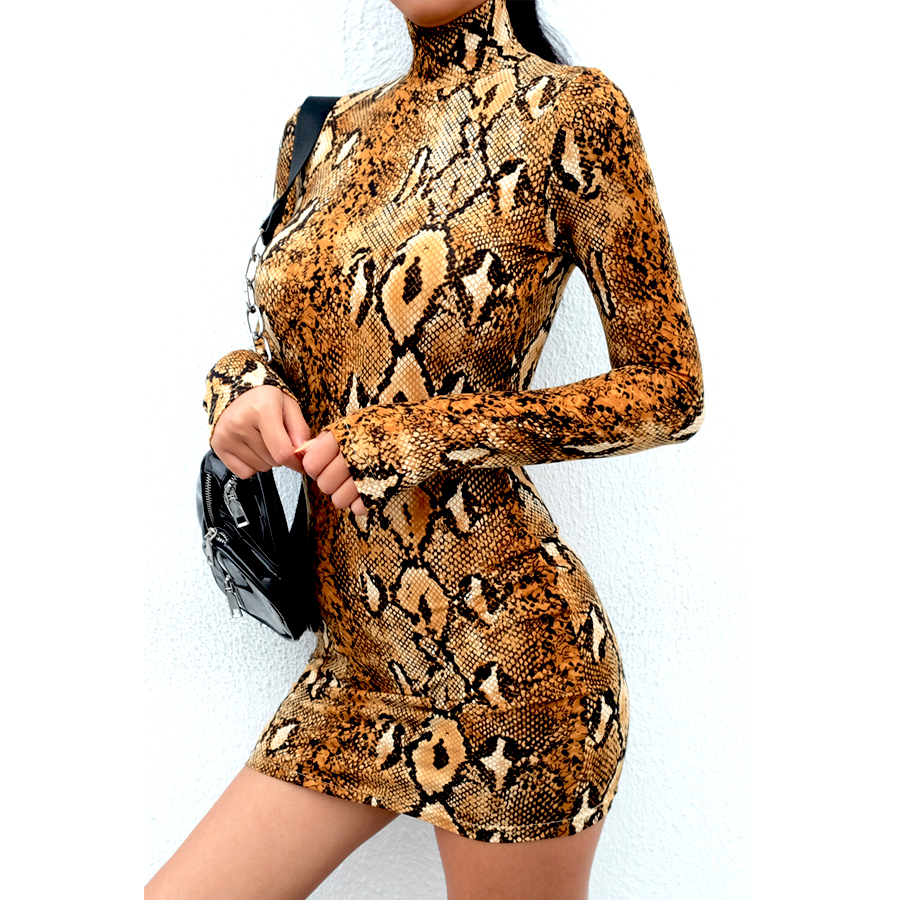 HTB1eOpqasrrK1RjSspaq6AREXXa4 Snake Skin Print Turtleneck Short Sleeve Dress 2019 Autumn Women Sexy Bodycon Snakeskin High Neck Party Mini Dresses