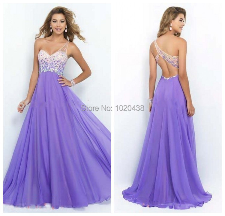 Romantic One Shoulder Luxury Crystals Plus Chiffon Custom Lilac Lavender Sexy Long Prom Gown 2018 Backless  Bridesmaid Dresses